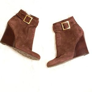 Tory Burch | Suede Stacked Wedge Ankle Booties